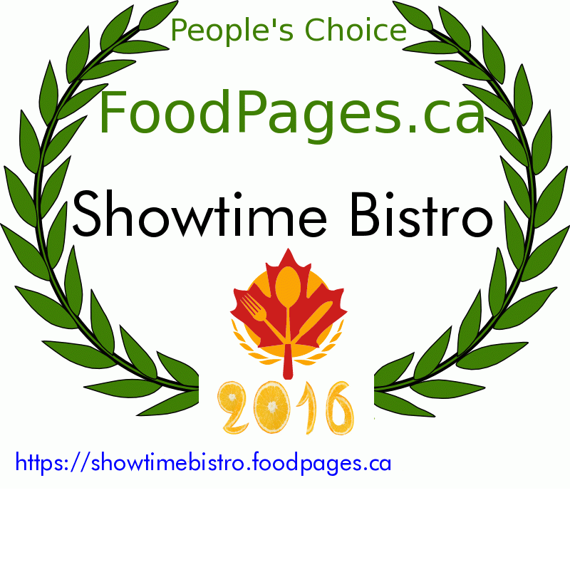 Showtime Bistro FoodPages.ca 2016 Award Winner