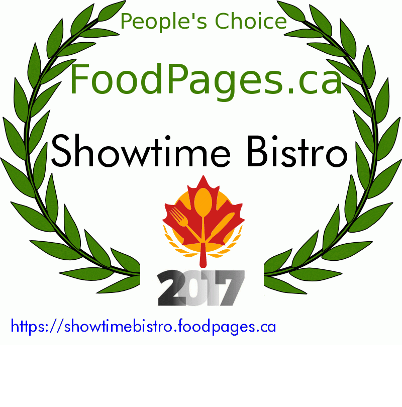 Showtime Bistro FoodPages.ca 2017 Award Winner